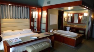 A guest room with two-person Sanijet hydrotherapy tub at Shade Hotel in Manhattan Beach, CA