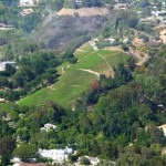 An aerial view of the Moraga Vineyards in Los Angeles' posh Bel Air disctrict