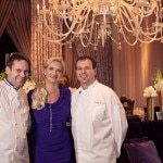 Joël Robuchon Restaurant executive chef Claude Le Tohic and pastry chef Kamel Guechida with Sophie Gayot