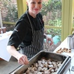 Chef Elizabeth Falkner readying her station for hungry fans