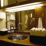 Luxe bathroom of an aircraft in Lufthansa Private Jet's fleet