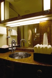 lufthansa bathroom 199x300 Luxe bathroom of an aircraft in Lufthansa Private Jets fleet