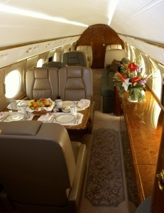 Interior of a Gulfstream G550, available in Lufthansa Private Jet service