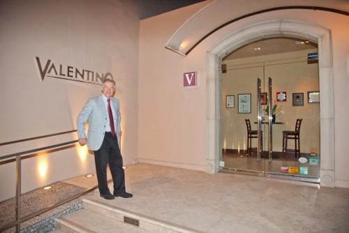 Piero Selvaggio at the entrance to Valentino