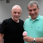 Actor Sir Anthony Hopkins and Stratton Leopold of Leopold's Ice Cream