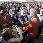 Sir Richard Branson celebrates the SpaceShipTwo's successful test flight with designer Burt Rutan at Mojave Air and Space Port in California