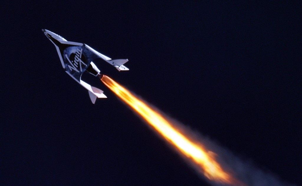 Telescope image of SpaceShipTwo as it takes off on its inaugural rocket-powered journey