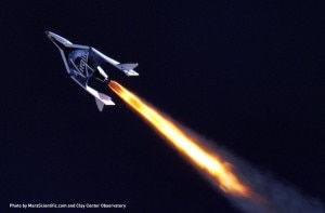 spaceship two telescope image1 300x197 Virgin Galactics SpaceShipTwo takes off on its supersonic journey
