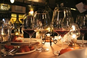 Wine and food combination at The Breslin Bar & Dining Room