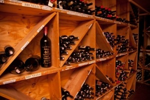 Some of the Italian wines in Valentino's extensive cellar
