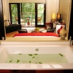 An elegant bathtub at the Nyungwe Forest Lodge