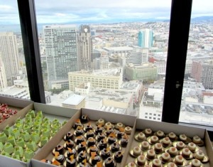 Assorted pastries amidst a spectacular view of the city at SF Chef's kickoff party