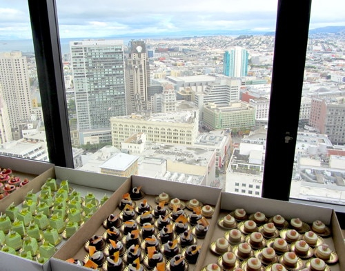 Assorted pastries amid a spectacular view of San Francisco
