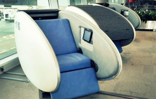 An open GoSleep sleeping pod at the Abu Dhabi Airport