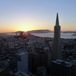 View of the Golden Gate Bridge from Loews Regency San Francisco at sunset
