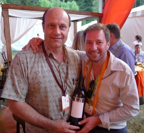 Winemaker Philippe Melka and Alain Gayot sampling a magnum of Métisse