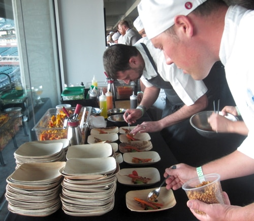 Sean Baker (pictured center), executive chef at Gather