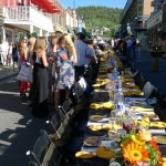 View of guests at the Egyptian Theatre's table at Savor the Summit in Park City, Utah