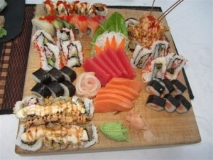 Sushi tray 300x225 Sushi tray as served at Beaches Turks and Caicos
