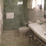 A guest bathroom at Washington School House Hotel in Park City, Utah