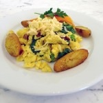Organic egg scramble with local farmer's market vegetables at Washington School House Hotel in Park City, Utah