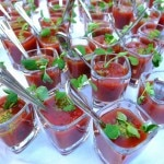 Heirloom tomato gazpacho as served at 350 Main Brasserie