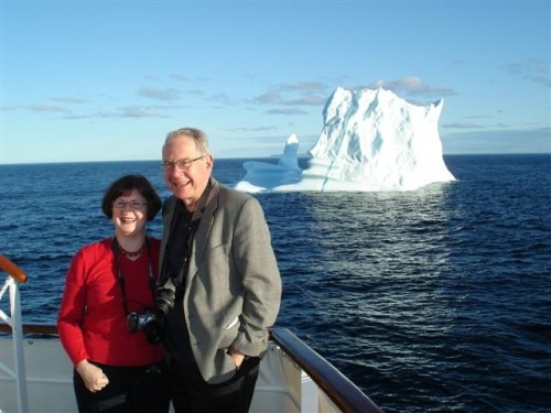 The authors pose in the midst of Iceberg Alley