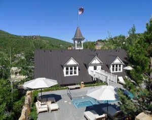 The rooftop pool at Washington School House Hotel in Park City, Utah