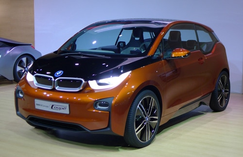 A three-quarter front view of the BMW i3 at the 2012 Los Angeles Auto Show
