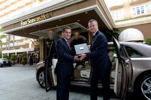 Louis XIII Rare Cask 42,6 Cognac arrives at the Four Seasons Hotel Los Angeles at Beverly Hills