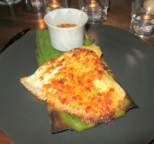 Grilled skate wing in the bone served with a spicy sambal sauce