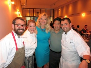 Chef Jon Shook and chef Vinny Dotolo with Sophie Gayot