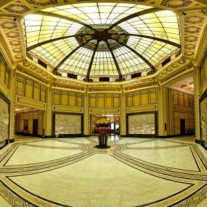 Fairmont Peace Hotel's octagonal white marble lobby