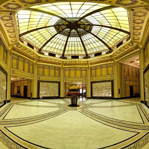 Fairmont Peace Hotel's octagonal white marble lobby