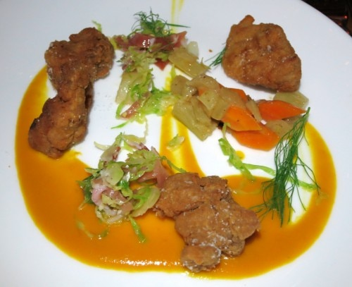 Fennel & rye-dusted sweetbreads, carrot miso, brussel sprout (Michelle)