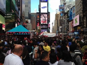 The crush of people in Times Square