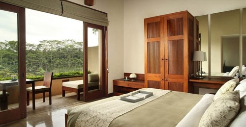 Views from a guest room at Alila Ubud in Bali