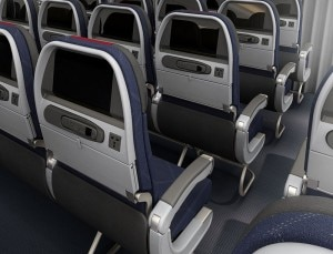 Main Cabin seating on the new American Airlines Boeing 777-300ER
