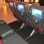 jal economy seat backs 150x150 Japan Airlines JAL SKY SUITE 777 Soars One Class Higher   Travel News