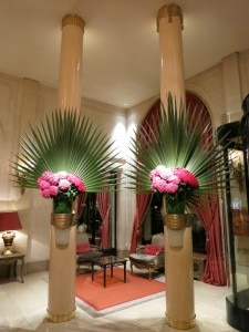 The lobby and its famous flowers