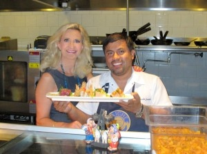 Chef Ricardo Zarate in the kitchen with Sophie Gayot at Paiche restaurant