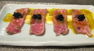 wagyu beef 300x165 Seared Wagyu beef with Parmesan sauce, aji amarillo vinaigrette and black truffle