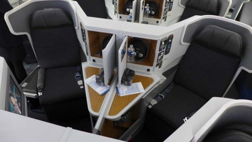 Business Class seats in the center row of American Airlines' new Boeing 777-300ER