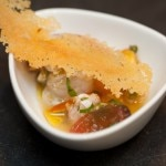 Shrimp and red snapper ceviche with heirloom tomato, orange and fennel pollen