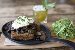 Mushrooms and burrata on French Toast, one of the recipes from the book