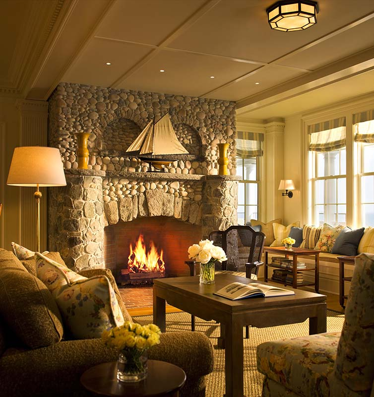 The Fireplace In The Lobby At Ocean House In Watch Hill