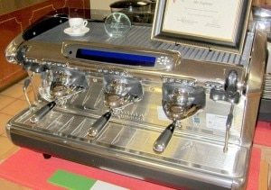 One of many vintage espresso machines on display at Mr. Espresso's Oakland warehouse. Photo courtesy of Kristan Lawson.