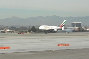 emirates a380 300x199 Emirates A380 flight touches down in Los Angeles