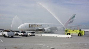 emirates a380 water cannons 300x168 A water cannon salute welcomes the Emirates A380 in Los Angeles