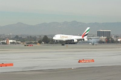 Emirates' A380 flight touches down in Los Angeles